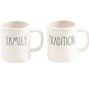 "Rae Dunn set of mugs, ""family"" and ""tradition"""